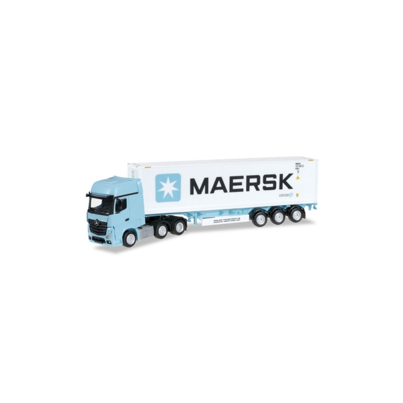 "Herpa 305242 Mercedes-Benz Actros Gigaspace 6x2 Container-Sattelzug ""Maersk"""