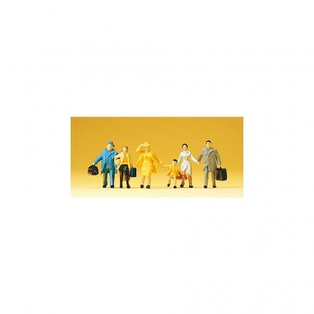handbemalt 6 Figuren Reisende Preiser 14142 H0